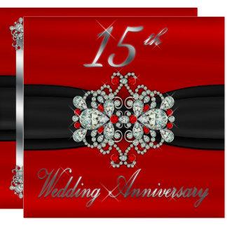 Elegant Diamonds Rubies 15th Wedding Anniversary Card