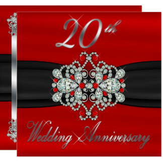 Elegant Diamonds Rubies 20th Wedding Anniversary Card