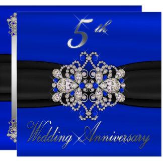 Elegant Diamonds Sapphire 5th Wedding Anniversary Invitation