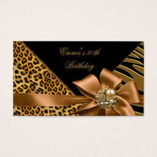 Elegant Directions Party Zebra Leopard Gold Black Business Card