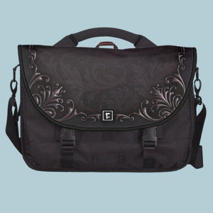 Elegant Distressed Damask Black Laptop Bag