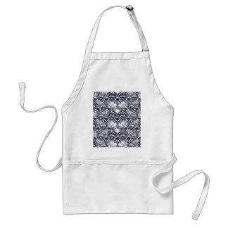 Elegant Distressed Navy Blue Lace Damask Pattern Adult Apron