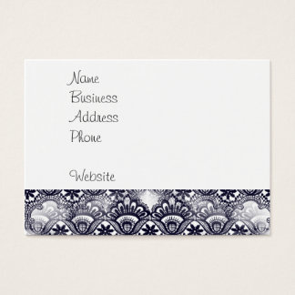 Elegant Distressed Navy Blue Lace Damask Pattern Business Card