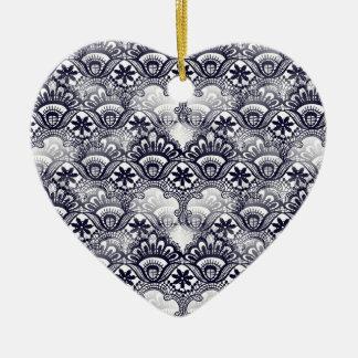 Elegant Distressed Navy Blue Lace Damask Pattern Ceramic Ornament