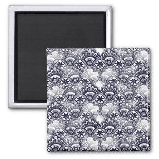 Elegant Distressed Navy Blue Lace Damask Pattern Magnet