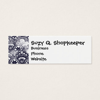 Elegant Distressed Navy Blue Lace Damask Pattern Mini Business Card