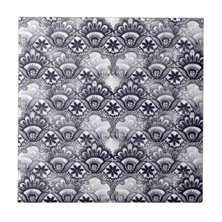 Elegant Distressed Navy Blue Lace Damask Pattern Small Square Tile