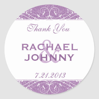 Elegant Distressed Violet Purple Thank You Classic Round Sticker