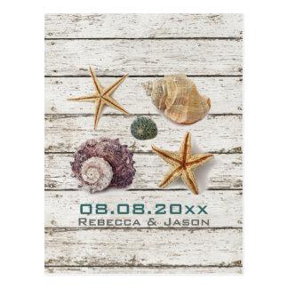 elegant dock wood seashells beach save the date postcard