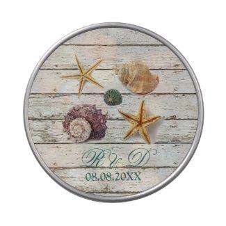elegant dock wood seashells beach wedding candy tin