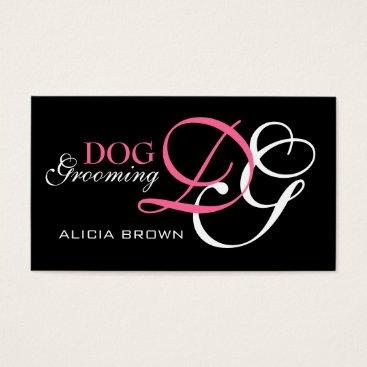 Professional Business Elegant Dog Grooming Business Card Monogram