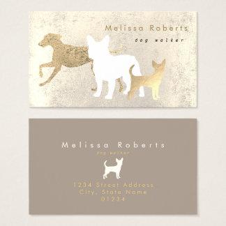 elegant dogs silhouettes dog walker business card