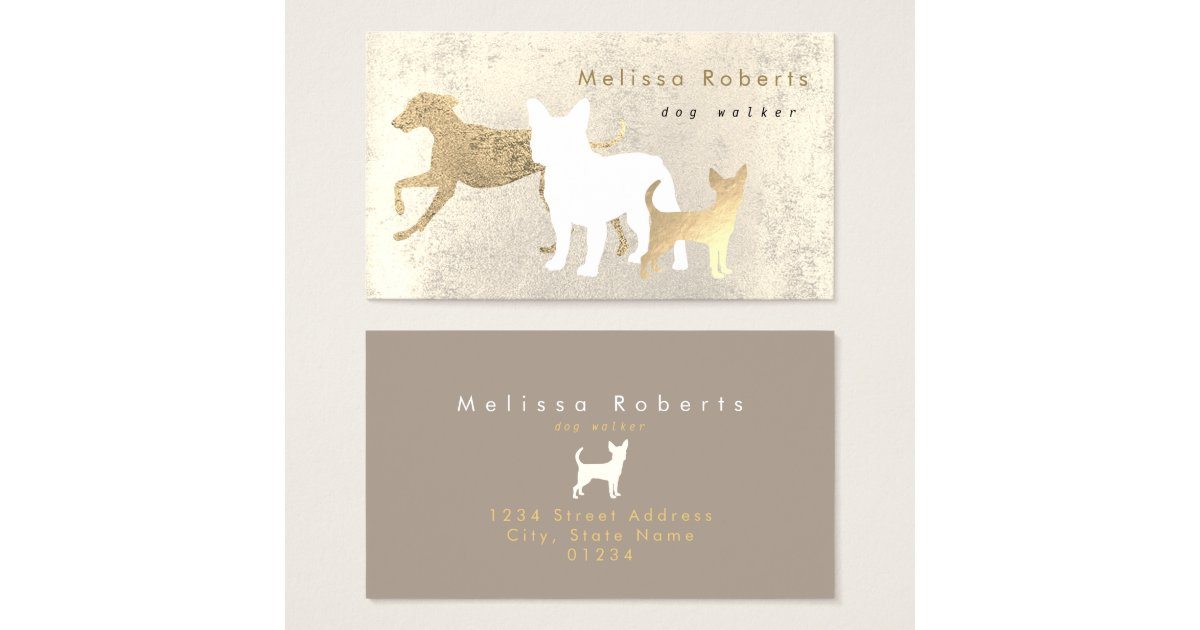 elegant dogs silhouettes dog walker business card | Zazzle.com
