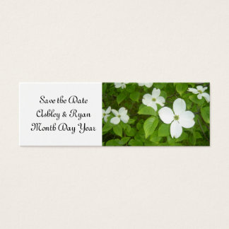 Elegant Dogwood Save the Date Mini Business Card