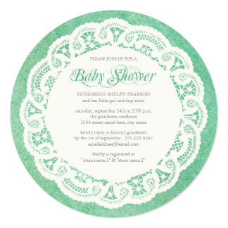 Elegant Doily Baby Shower Invitation / Mint