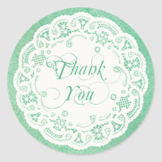 Elegant Doily Thank You Sticker Mint Green