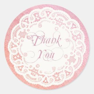 Elegant Doily Thank You Sticker / Pink Coral
