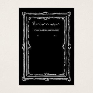 Elegant Doodle Dark Frame Background Earring Cards