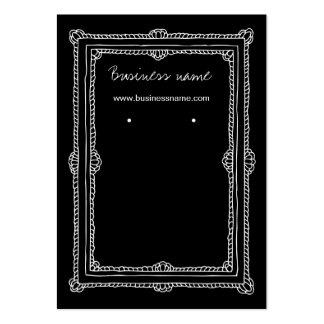 Elegant Doodle Dark Frame Background Earring Cards Large Business Cards (Pack Of 100)