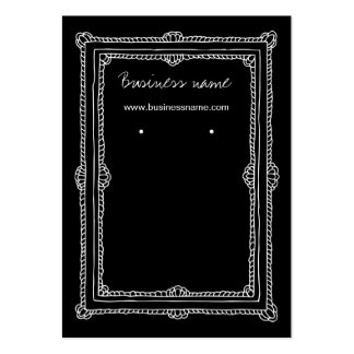 Elegant Doodle Dark Frame Background Earring Cards Business Card Template