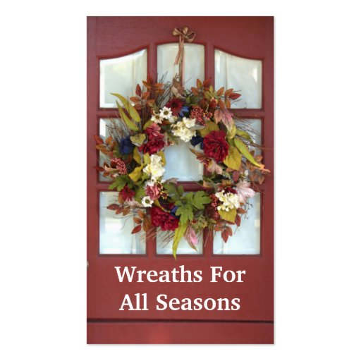 Elegant Door Wreath Custom Florist Business Card