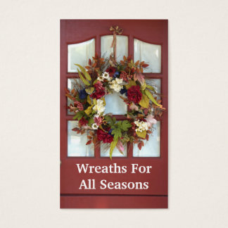 Elegant Door Wreath Custom Florist Business Card