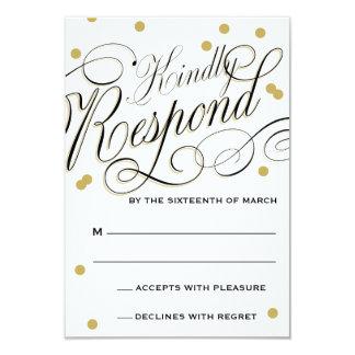 Elegant Dot Gold Response 3.5x5 Paper Invitation Card