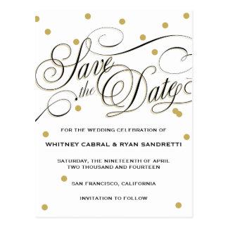Elegant Dot Gold Save the Date Postcard