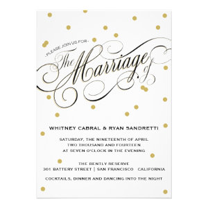 Elegant Dot Gold Wedding Invitation