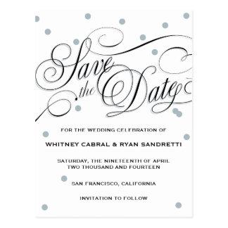 Elegant Dot Silver Save the Date Postcard