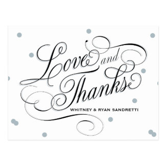 Elegant Dot Silver Thank You Post Card