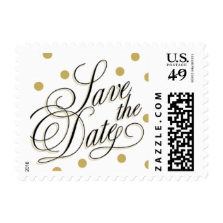 Elegant Dots Gold Save the Date Stamp