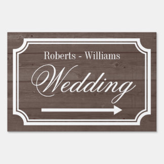 Elegant double sided directional wedding yard sign