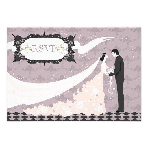 Elegant Doves, Bride & Groom RSVP Wedding Custom Announcements