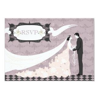 "Elegant Doves, Bride & Groom RSVP Wedding 3.5"" X 5"" Invitation Card"