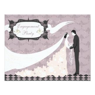 Elegant Doves, Bride & Groom Vector Engagement Card