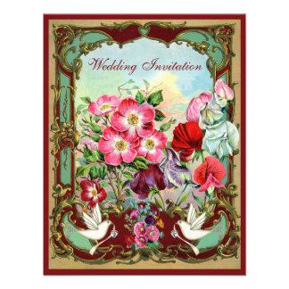 Elegant Doves Vintage Flowers Wedding Invitations