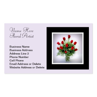 Elegant Dozen Red Roses Bouquet Wedding Florist Double-Sided Standard Business Cards (Pack Of 100)