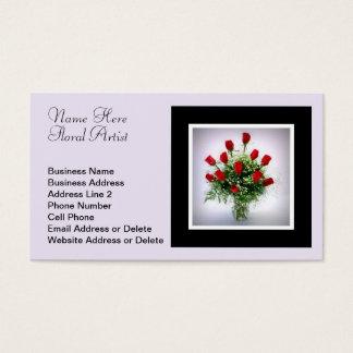 Elegant Dozen Red Roses Bouquet Wedding Florist Business Card