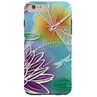 Elegant Dragonflies Colorful Water Lily Flowers Tough iPhone 6 Plus Case