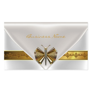 Elegant Dragonfly Jewel White Gold Clutch Purse Double-Sided Standard Business Cards (Pack Of 100)