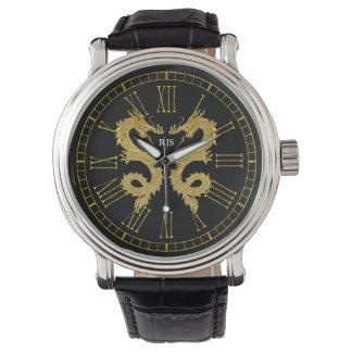 Elegant Dragons Monogram Personalize Wristwatch