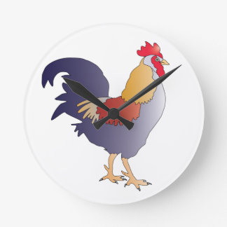 Elegant Drawing of a Purple French Rooster Round Wallclock