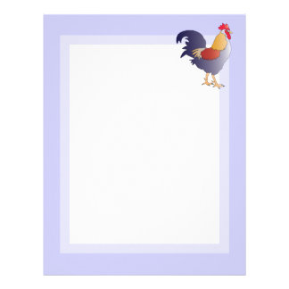 Elegant Drawing of a Purple French Rooster Customized Letterhead