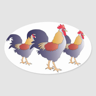Elegant Drawing of a Purple French Rooster Oval Sticker