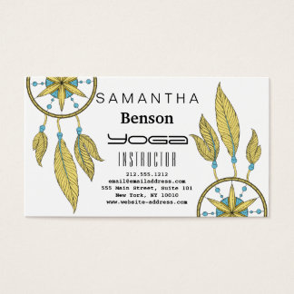Elegant  Dream Catcher Feathers Yoga Instructor Business Card