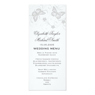 Elegant Dream Grey Butterfly Wedding Menu Card