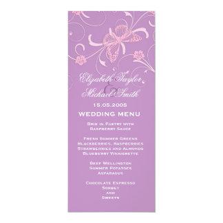Elegant Dream Lavender Butterfly Wedding Menu 4x9.25 Paper Invitation Card
