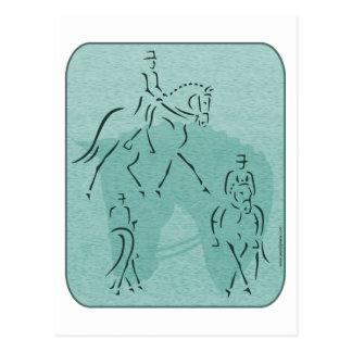 Elegant Dressage Horse Design in Teal Post Card
