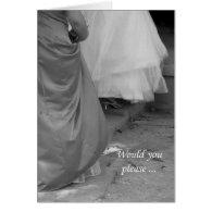 Elegant Dresses Maid of Honor Invitation Card